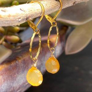 Jewelry - Yellow chalcedony drop earrings